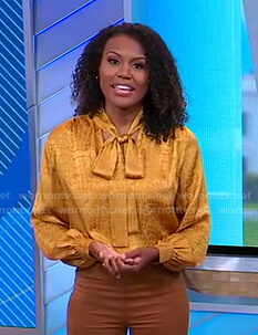 Janai's yellow crocodile print tie neck blouse on Good Morning America
