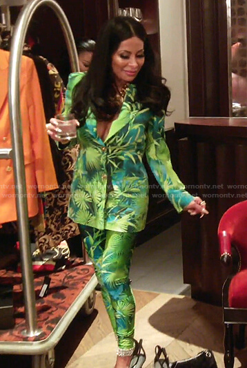 Jen's green tropical print blazer and leggings on The Real Housewives of Salt Lake City