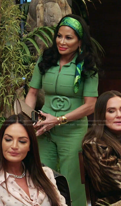 Jen's green belted jumpsuit on The Real Housewives of Salt Lake City
