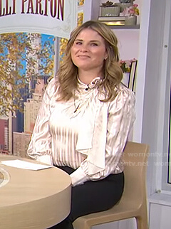 Jenna's striped tie neck satin blouse on Today