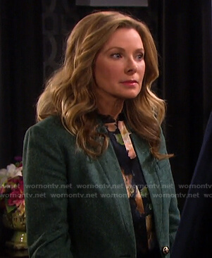 Jennifer's floral top and green blazer on Days of our Lives
