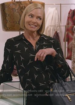 Jill's black eiffel tower print blouse on Mom