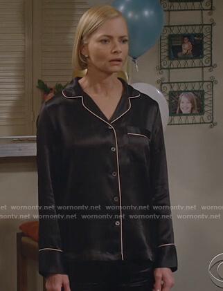 Jill's black satin pajamas on Mom