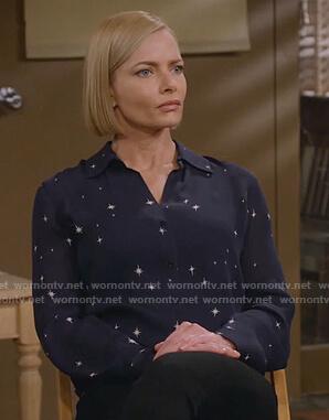 Jill's navy star print blouse on Mom