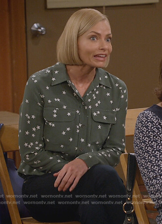 Jill's green star print shirt on Mom