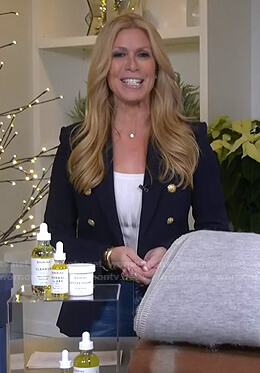 Jill's navy blazer with gold buttons on Today