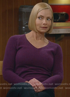Jill's purple v-neck sweater on Mom