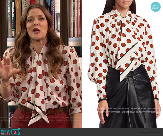Ancient Anecdotes printed blouse by Johanna Ortiz worn by Drew Barrymore  on The Drew Barrymore Show