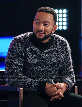 John Legend's black mohair sweater on The Voice