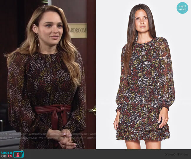 Donetta Printed Silk Dress by Joie worn by Summer Newman (Hunter King) on The Young & the Restless
