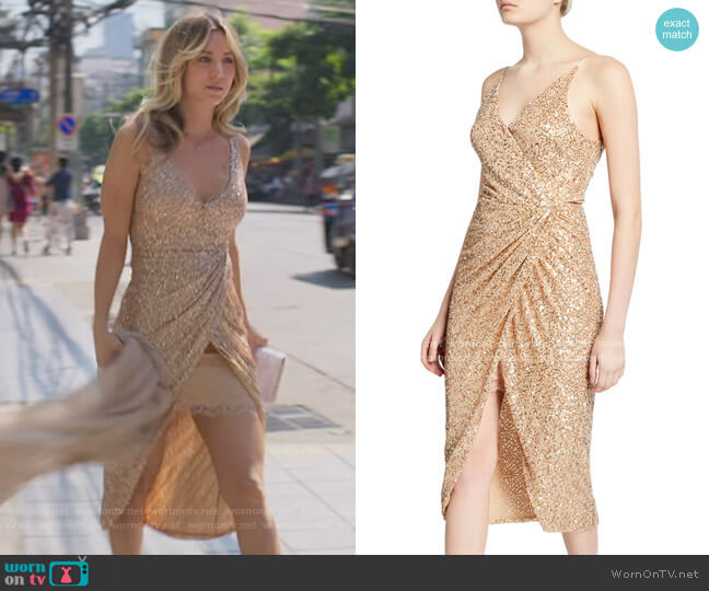 Jonathan Simkhai Sequined Sleeveless Wrap Dress worn by Cassie Bowden (Kaley Cuoco) on The Flight Attendant