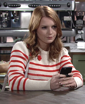 Jordan's striped sweater on The Young and the Restless