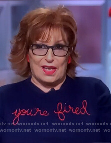 Joy's blue you're fired sweater on The View