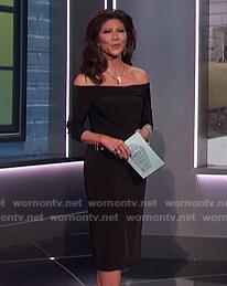Julie's black off shoulder dress on Big Brother