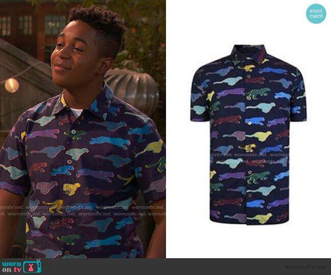 Cheetah Print Shirt by Just Cavalli worn by Booker Baxter (Issac Ryan Brown) on Ravens Home