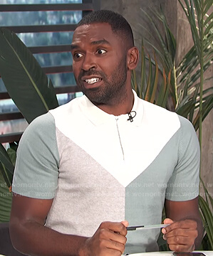 Justin's colorblock knit polo shirt on E! News Daily Pop