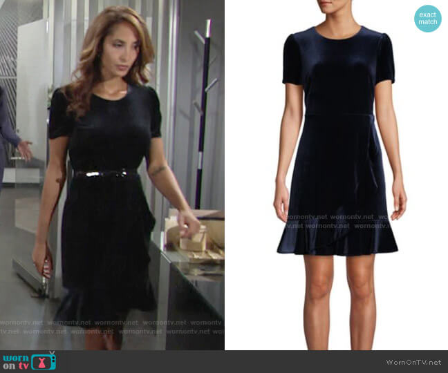 Ruffle-Trimmed Velvet Mini Dress by Karl Lagerfeld Paris worn by Lily Winters (Christel Khalil) on The Young & the Restless