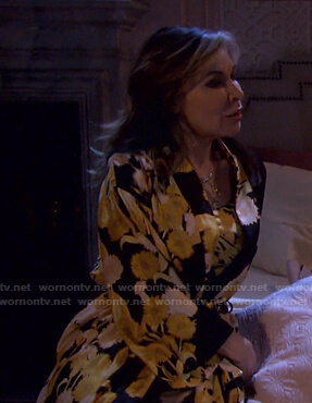 Kate's black and yellow floral robe on Days of our Lives
