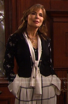 Kate's black and white floral print tie neck blouse on Days of our Lives