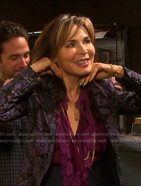 Kate's purple ruffled blouse and floral blazer on Days of our Lives