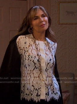Kate's white floral lace blouse on Days of our Lives