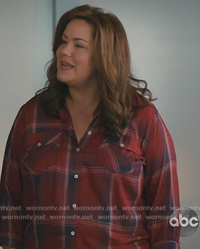 Katie's red plaid shirt on American Housewife