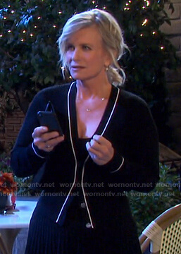 Kayla's black contrast trim cardigan on Days of our Lives