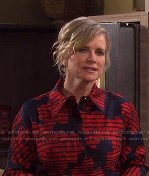 Kayla's red striped shirtdress on Days of our Lives