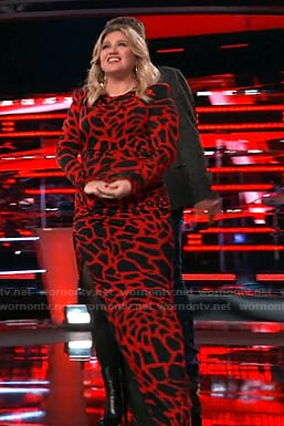 Kelly's red and black printed long dress on The Voice