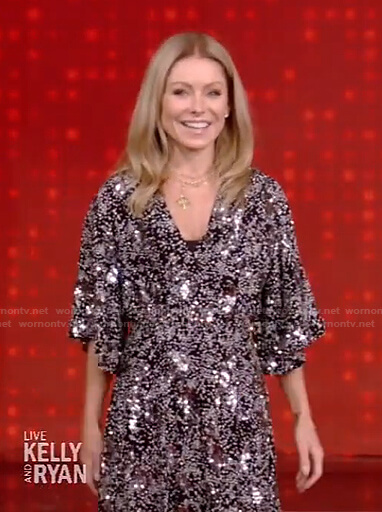 Kelly's black printed sequin embellished dress on Live with Kelly and Ryan