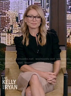 Kelly's black puff elbow-sleeve blouse and pencil skirt on Live with Kelly and Ryan