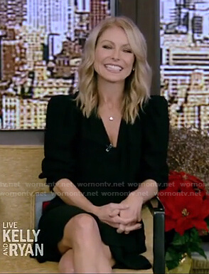 Kelly's black surplice dress on Live with Kelly and Ryan