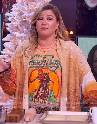 Kelly's orange ombre cardigan on The Kelly Clarkson Show