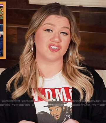 Kelly's white Run DMC graphic tee on The Kelly Clarkson Show