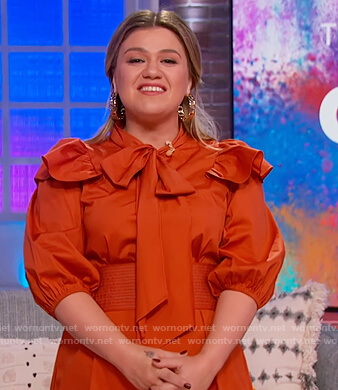 Kelly's orange ruffle mini dress on The Kelly Clarkson Show