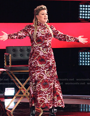 Kelly's red floral maxi dress on The Voice