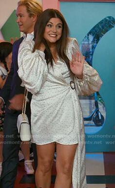 Kelly Kapowski's white polka dot wrap dress on Saved By The Bell