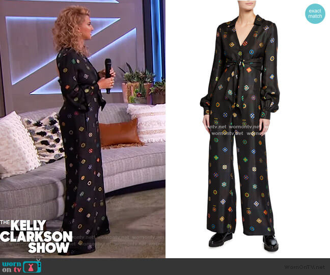 Abstract Floral Jacquard Tie-Front Jumpsuit by Kirin worn by Tori Kelly on The Kelly Clarkson Show