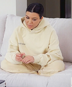Kourtney's print hoodie and sweatpants on Keeping Up with the Kardashians