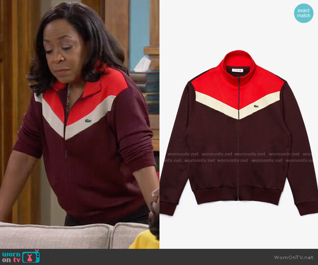 Lacoste Color-Block Fleece Zip Up Sweatshirt worn by Tina (Tichina Arnold) on The Neighborhood