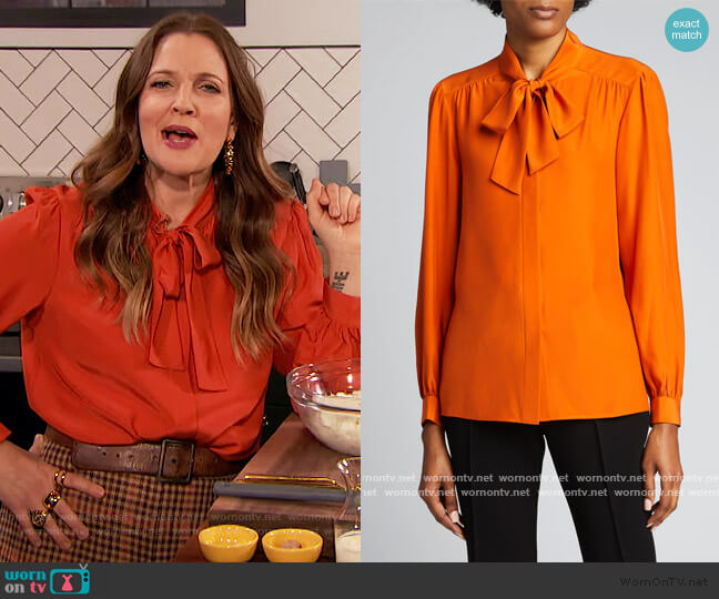 Cecile Tie-Neck Matte Silk Blouse by Lafayette 148 New York worn by Drew Barrymore  on The Drew Barrymore Show