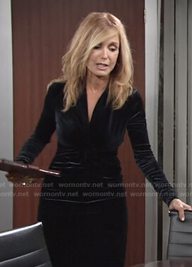Lauren's black knot front velvet dress on The Young and the Restless