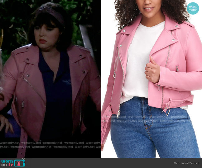 Levis Trendy Plus Size Faux-Leather Belted Moto Jacket worn by Gabby (Kether Donohue) on B Positive