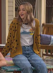 Lex's mustard polka dot cardigan on Side Hustle