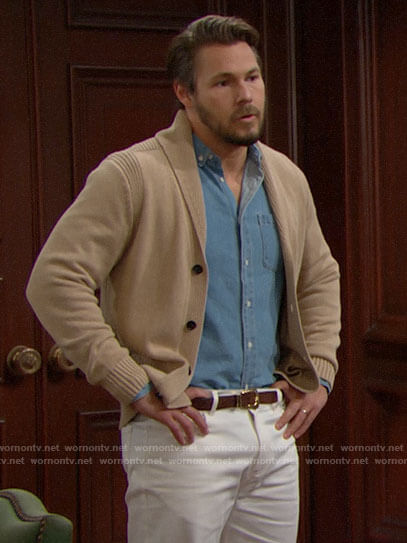 Liam's camel cardigan on The Bold and the Beautiful