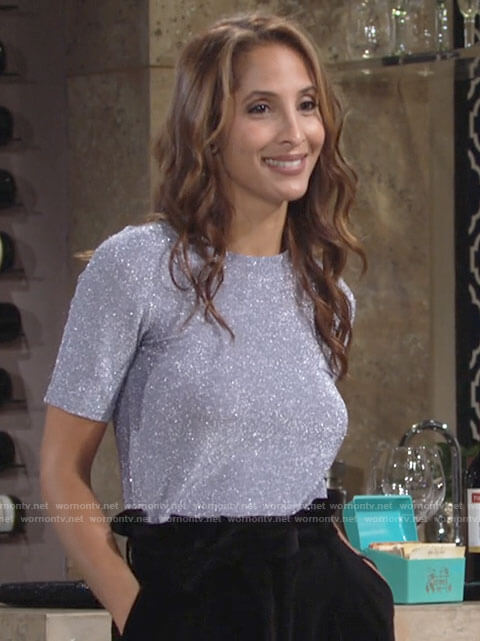 Lily's blue metallic short sleeve top on The Young and the Restless