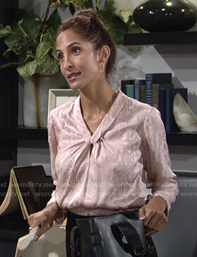 Lily's pink snake print blouse on The Young and the Restless