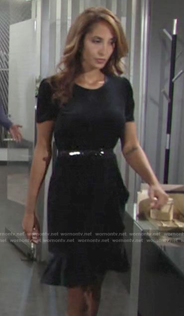 Lily's navy ruffle trim velvet dress on The Young and the Restless