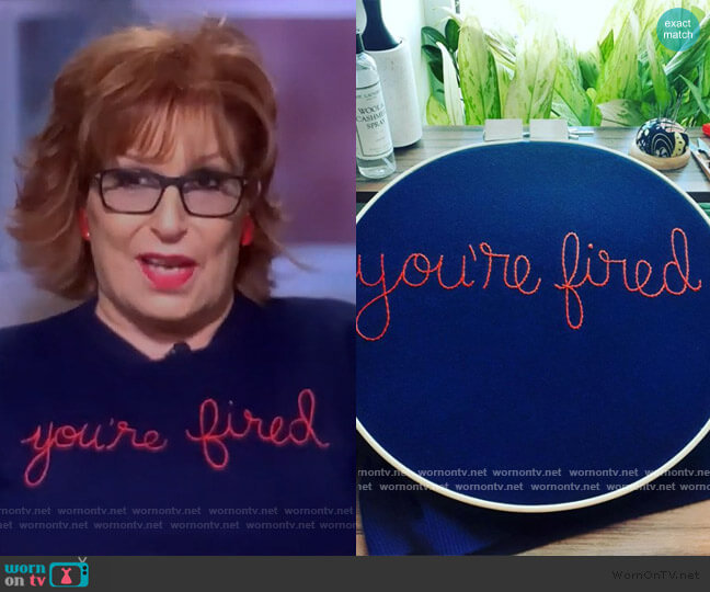 you're fired sweater by Lingua Franca worn by Joy Behar  on The View