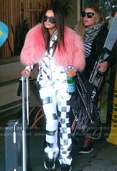 Lisa's metallic check ski jacket and pants on The Real Housewives of Salt Lake City